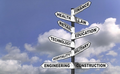 A post with signs pointing in various directions labelled with career names like finance, law, health, education, etc.