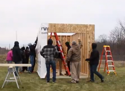 Students building a shed