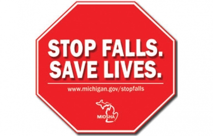 Stop sign with text Stop Falls Save Lives www.michigan.gov/stopfalls