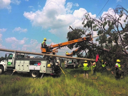 Lineman cutting back trees from power line