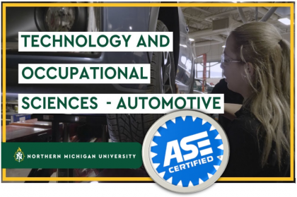 NMU's Automotive program is ASE certified, student working on car