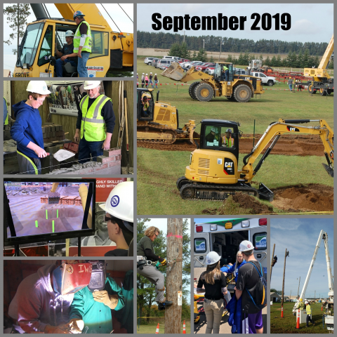 Collage of images showing students in skilled trades